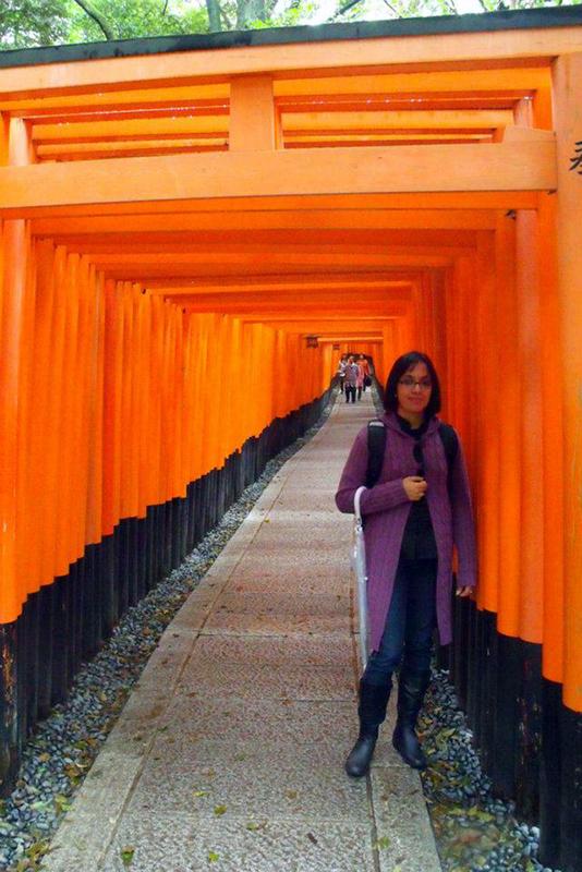 caminhos de torii vermelhos no santuário fushimi inari